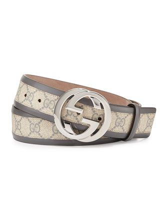 8146acbe02a GG Cavnas Belt with Interlocking G Buckle Gray in 2019
