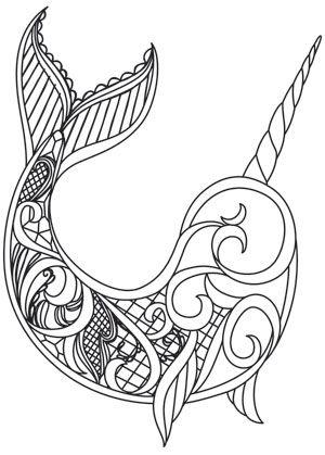 Dark Narwhal design (UTH13422) from UrbanThreads.com | mandalas ...
