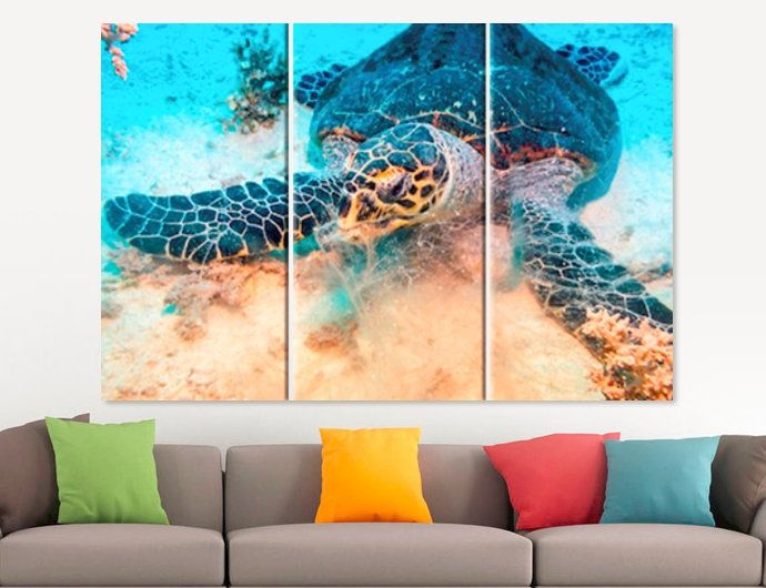 Sea turtle canvas print exotic underwater wall art home living room office decor photo set poster panel fauna large also best images on pinterest paintings murals rh