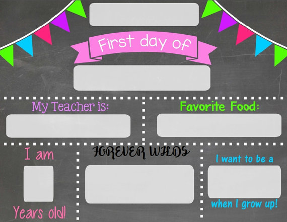 First day of school chalkboard sign - Chalkboard sign - print and