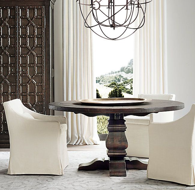 RHs Salvaged Wood Trestle Round Dining TableOur Salvaged Wood - Salvaged wood trestle round dining table