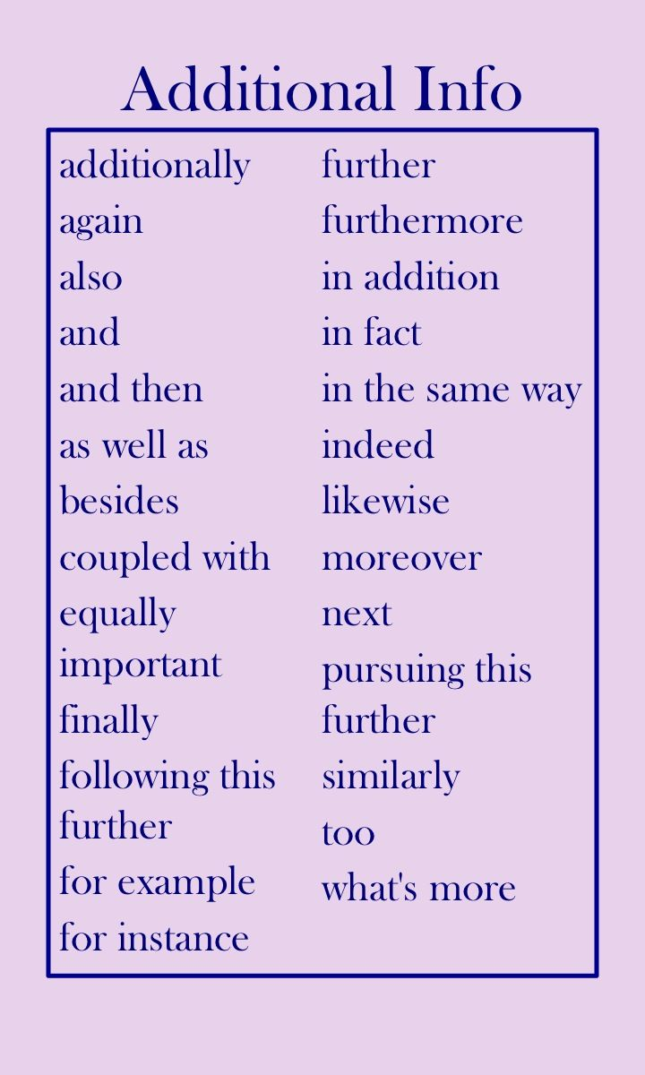 transition words: adding additional information | writer word lists