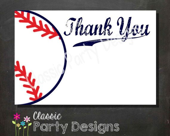 SALE Baseball Baby Shower Thank You Card by ClassicPartyDesigns ...