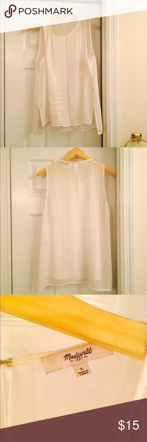 Madewell linen/cotton blend tuxedo top. Sheer classic Madewell. Tiny spot in tuxedo folds. Madewell Tops