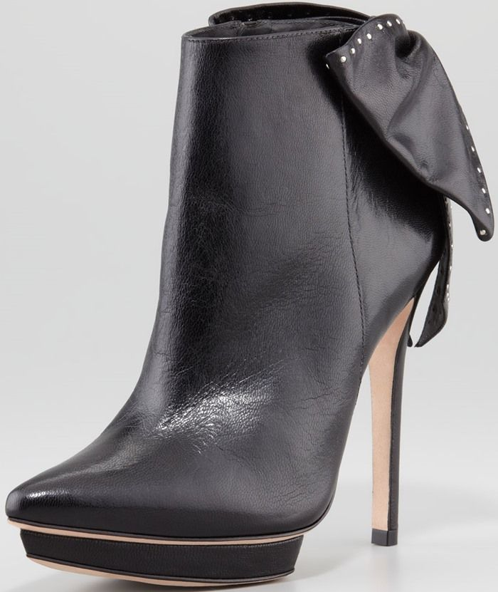 Alice Olivia Darleen Bow-Back Leather Bootie
