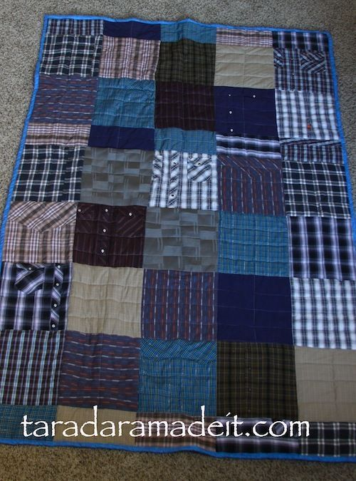 I want to do this with my Grandpa's old shirts. You have to see ... : memory quilts from old clothes - Adamdwight.com
