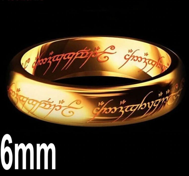 Lord Of Rings Hobbit Logo 8mm Tungsten Carbide Gold Wedding Band Ring Engraved Power Ring Rings For Men Men S Fashion Jewelry