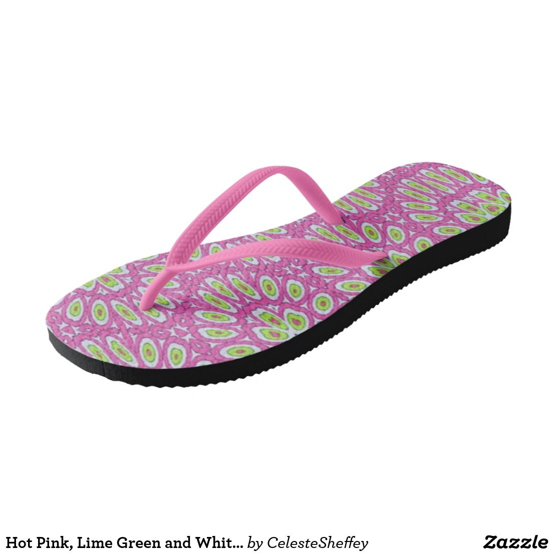 Hot Pink, Lime Green and White Pop Art Flip Flops