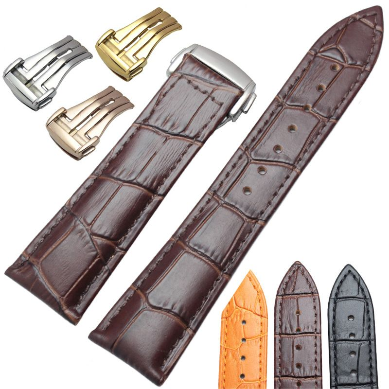 7442658bc60 Leather · 20mm 22mm Genuine Leather Watchbands Wiht Butterfly Deployment  Clasp Watch Band Strap Bracelet Replacement Accessories EUR