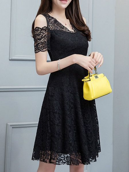 Shop Elegant Dresses - Black Floral V Neck Cold Shoulder Party Dress ...