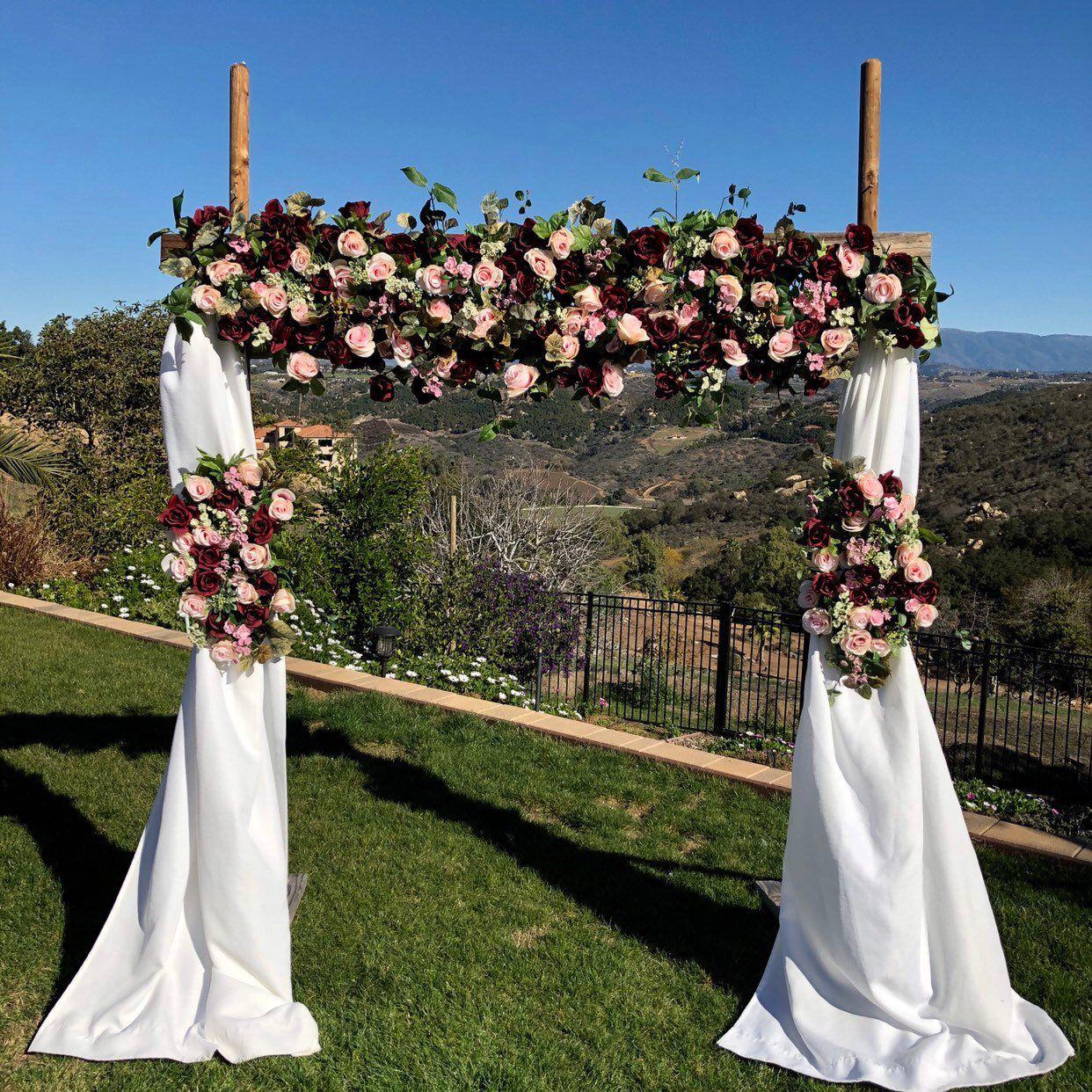 Burgundy Wedding Arch Flowers, Wedding Arch Package