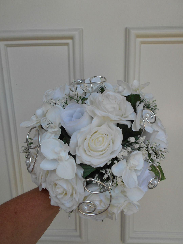 bouquet de mari e colombe blanc et argent fleurs artificielles autres accessoires par
