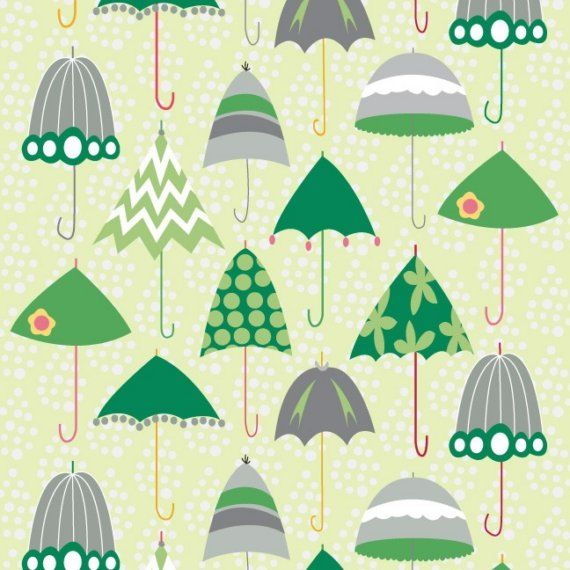 Green Retro Umbrellas, Rainy Days and Mondays by Riley Blake Fabric ~ etsy