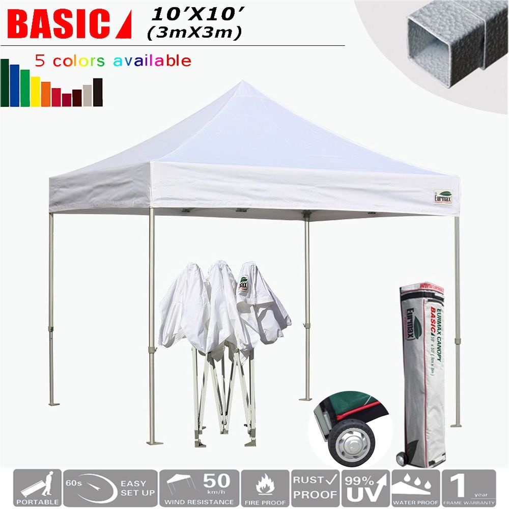 Ez Pop Up Canopy 10x10 Fair Folding Instant Gazebo Outdoor Party Tent Roller Bag Gazebo Patio Gazebo Party Tent