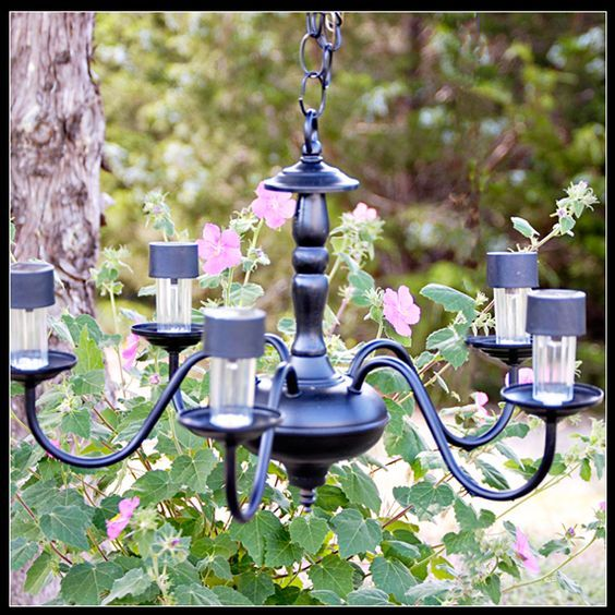 Solar Powered Chandelier Out Of An Old Electric Boo Gardening