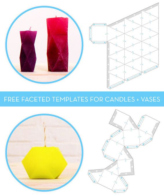 Free download: faceted candle and concrete vase templates | vase.