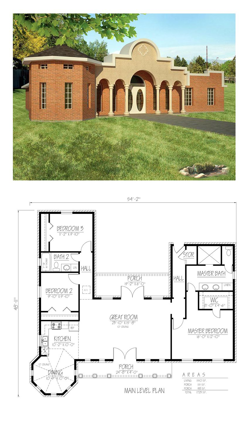 Southwest Style House Plan 71924 With 3 Bed 2 Bath Mediterranean House Plans Coastal House Plans Southwest House