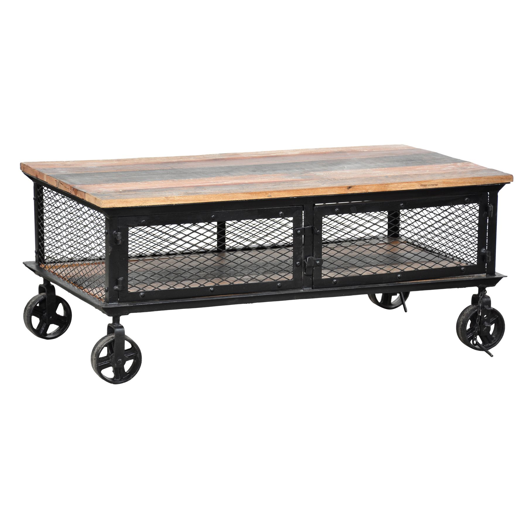 Add a touch of urban and industrial flair to your home decor with this modern Miles Coffee Table. Hand carved of recycled wood, this coffee table features an iron mesh base with two small doors to provide storage space.