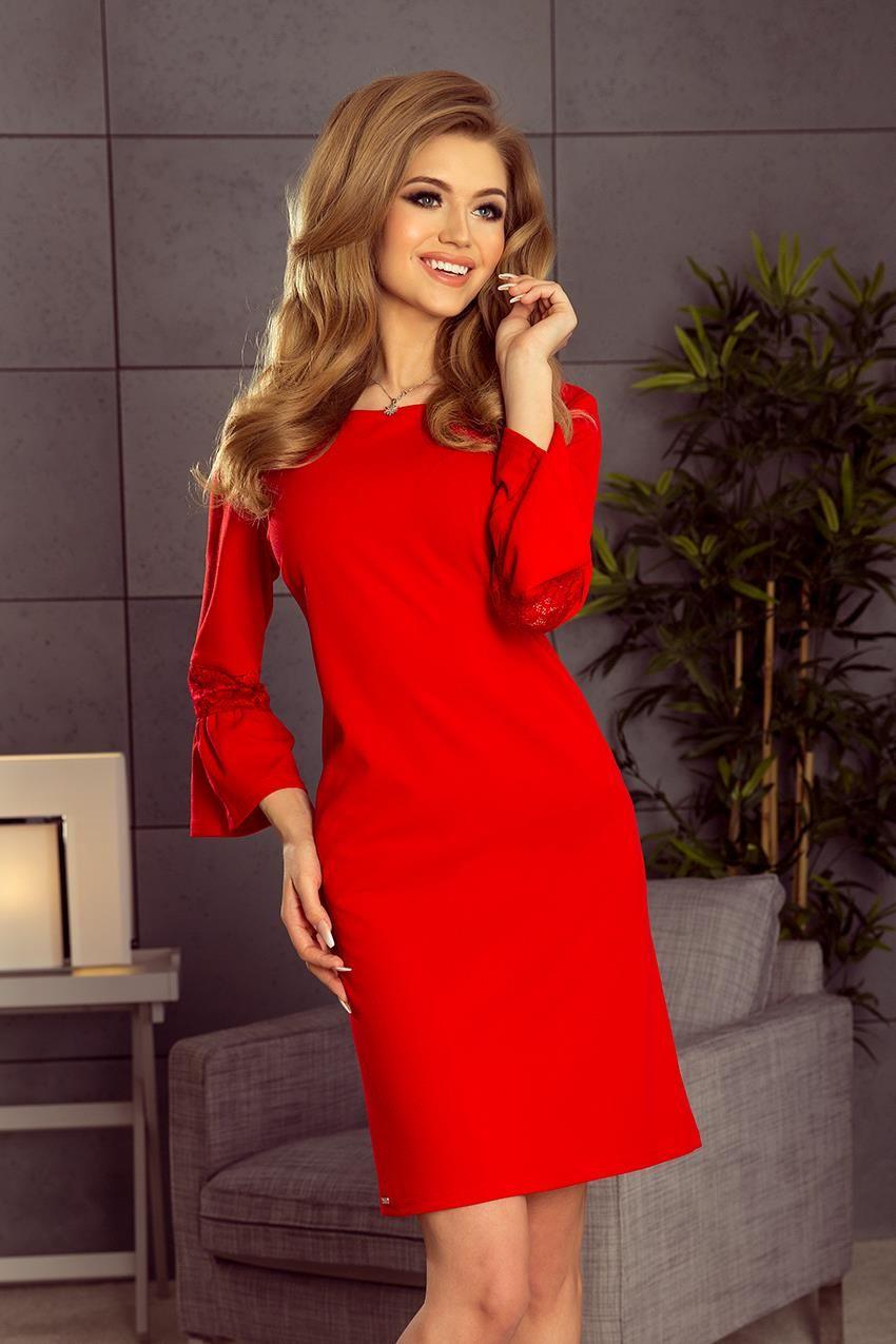7c36326f33 Elegancka Trapezowa Sukienka Czerwona NU190-3
