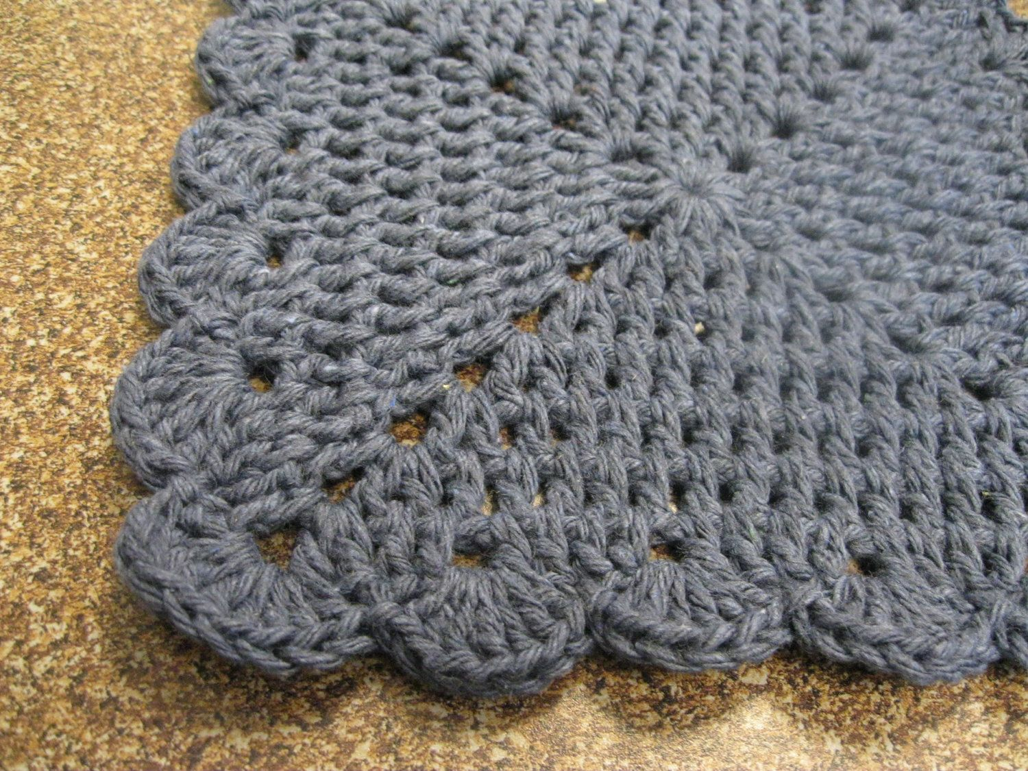 Crochet  Wash Cloth  Scalloped Navy Granny by afewlittlebumps, $4.00