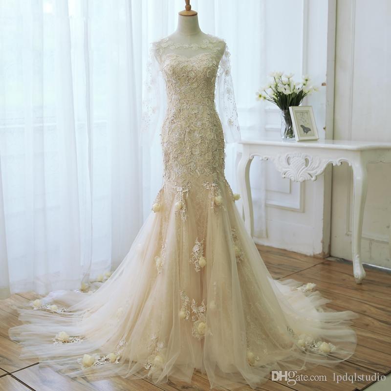Champagne mermaid wedding dress long sleeves fairy plus