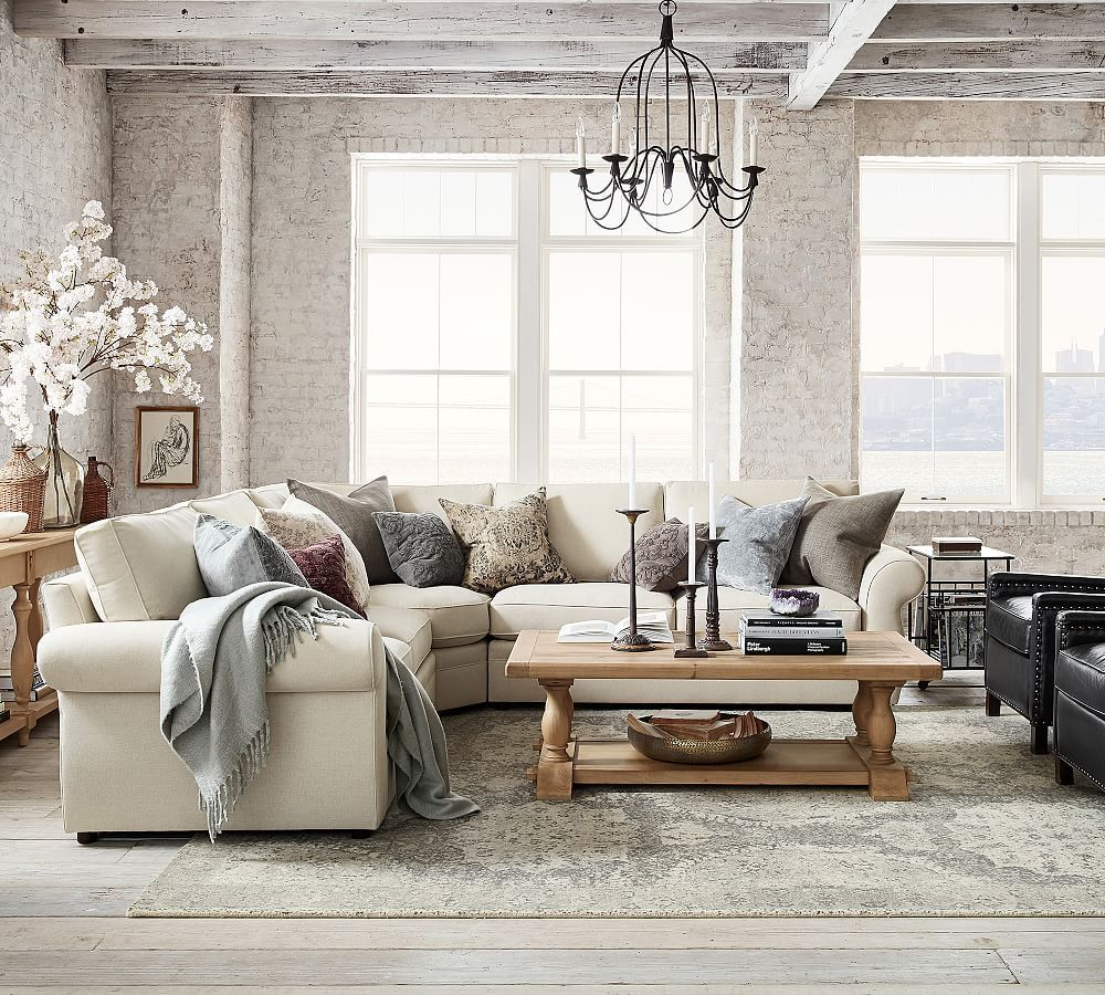 Pearce Upholstered 3 Piece L Sectional With Wedge In 2021 Pottery Barn Living Room Living Room Designs Farm House Living Room