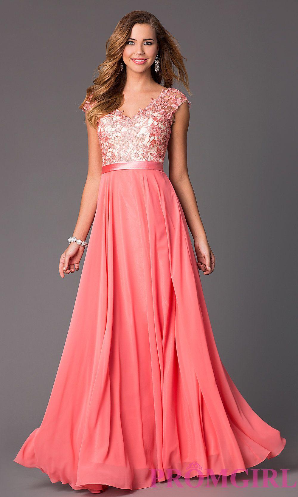 Modest cap sleeve V-neck pink Prom dress   dolls   Pinterest   Prom ...