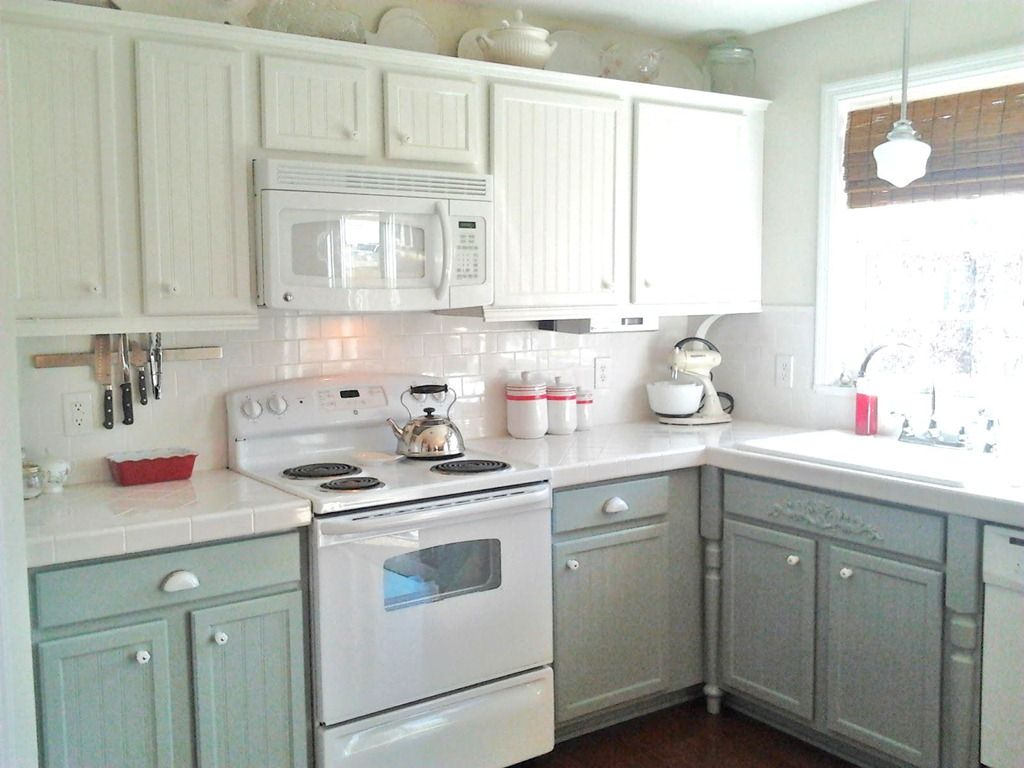 Kitchen Cabinets Two Colors painting oak cabinets white and gray | counter top, dark and gray
