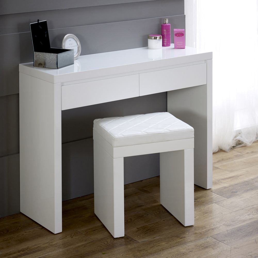 White High Gloss 2 Drawer Dressing Table And Stool Set White Gloss Bedroom White Gloss Dressing Table Dressing Table With Stool