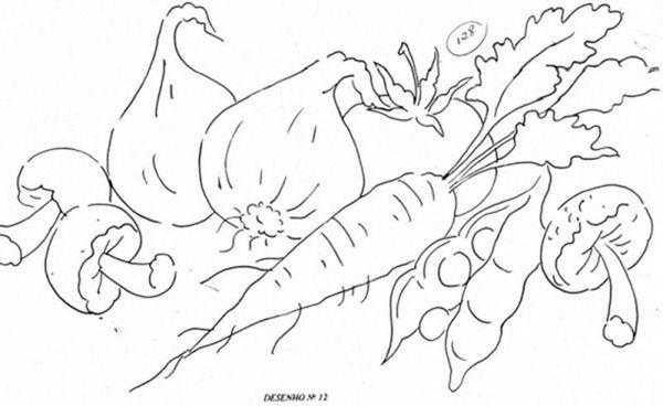 Riscos Para Pintura Em Pano De Prato De Legumes Com Imagens