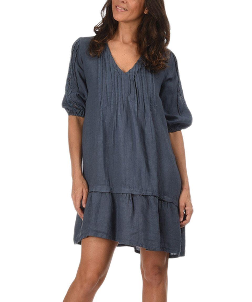 Faded Blue Marine Linen Dress by Couleur Lin #zulily #zulilyfinds ...