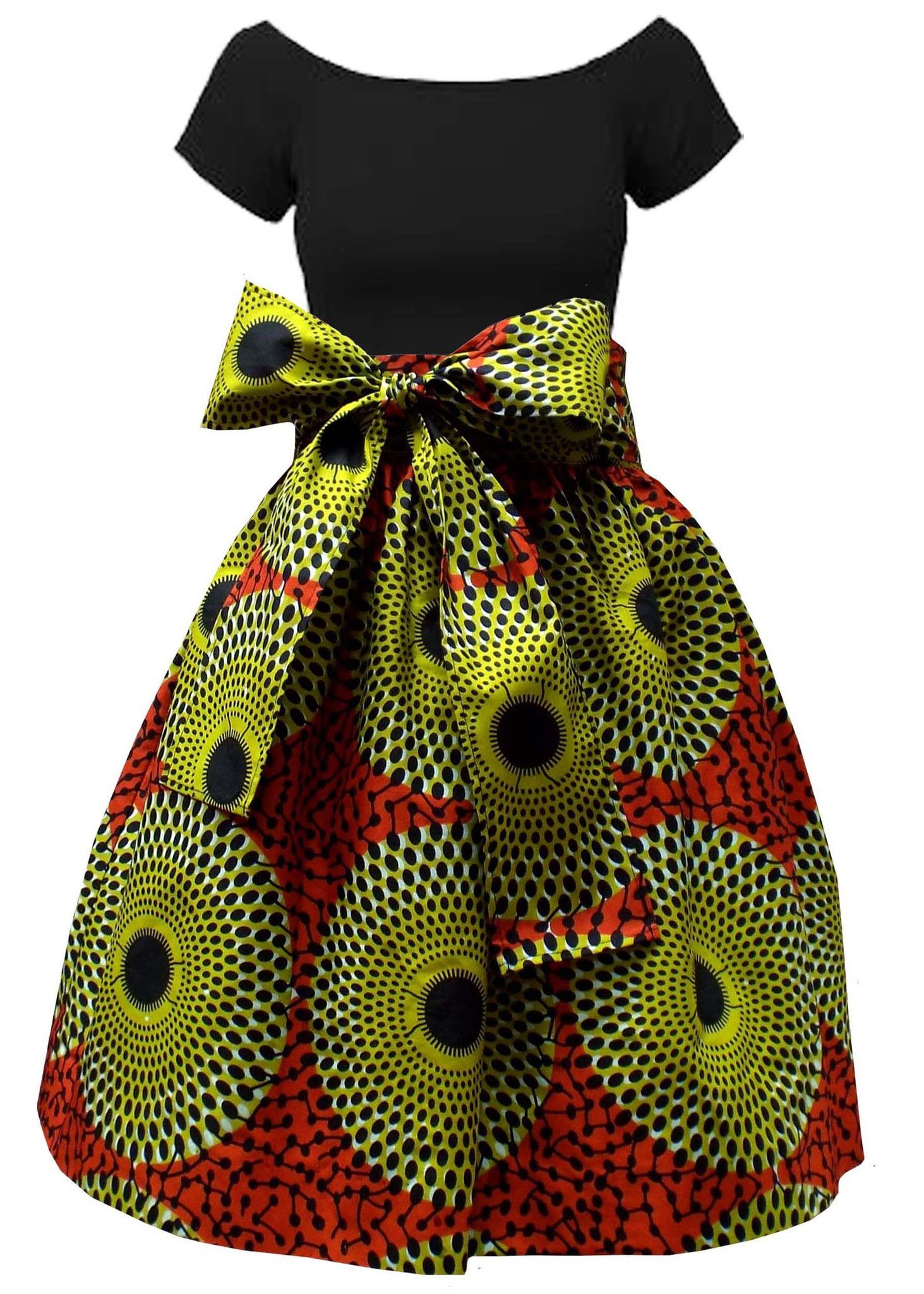 b8990bc9b2635 Meni African Print High Waist Full Skirt (Dark Orange/Green ...
