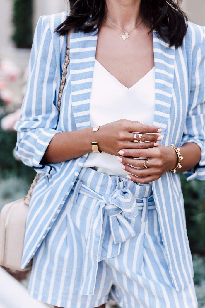 Blue & white striped blazer and shorts   cuff bracelets ...