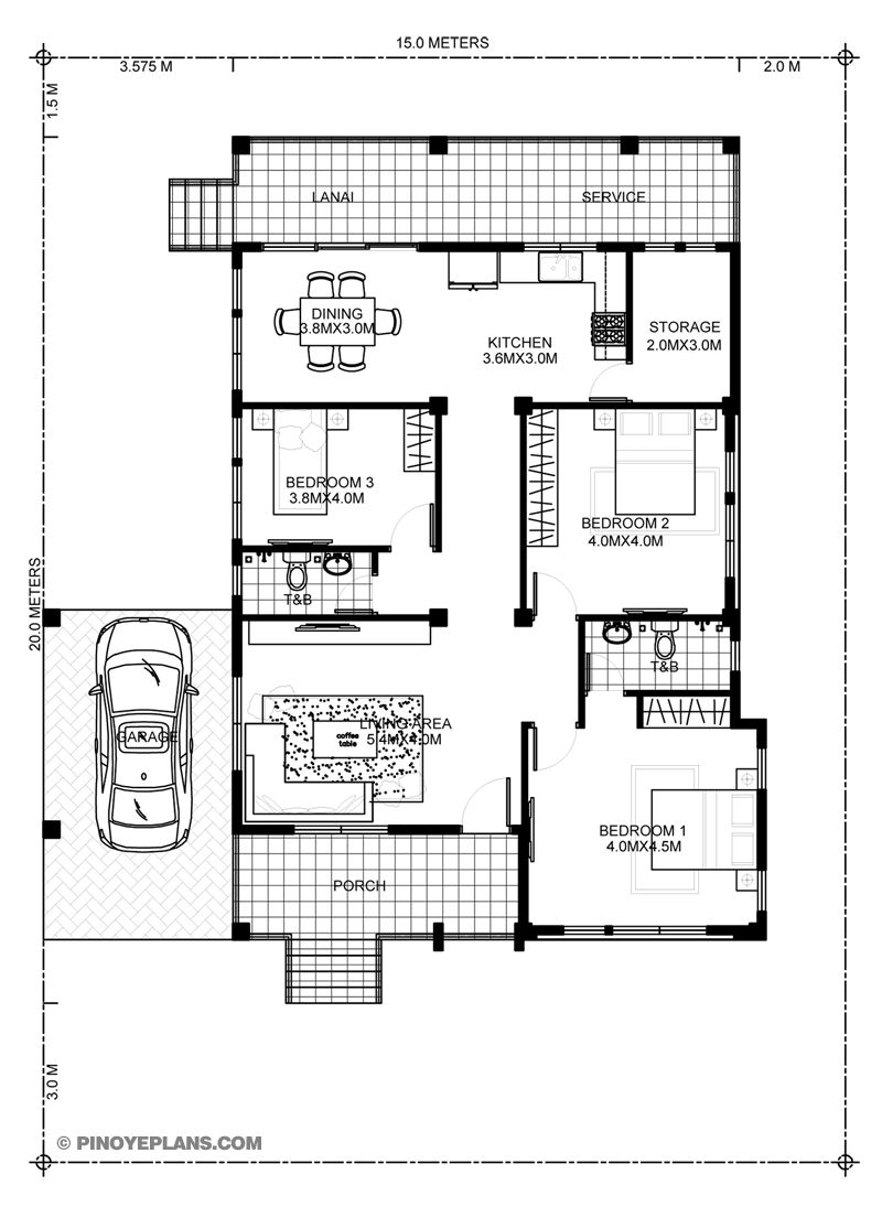 Myhouseplanshop Three Bedroom House Plan Designed To Be Build In 162 Square Meters Bedroom House Plans Three Bedroom House Bungalow House Design