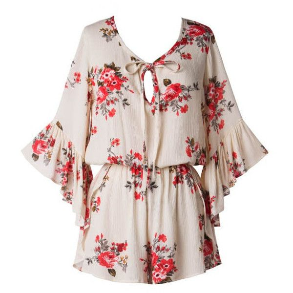 (pre-order) Floral Bell Sleeved Romper (€47) ❤ liked on Polyvore featuring jumpsuits, rompers, bell sleeve rompers, flower print romper, pink romper, playsuit romper and floral romper