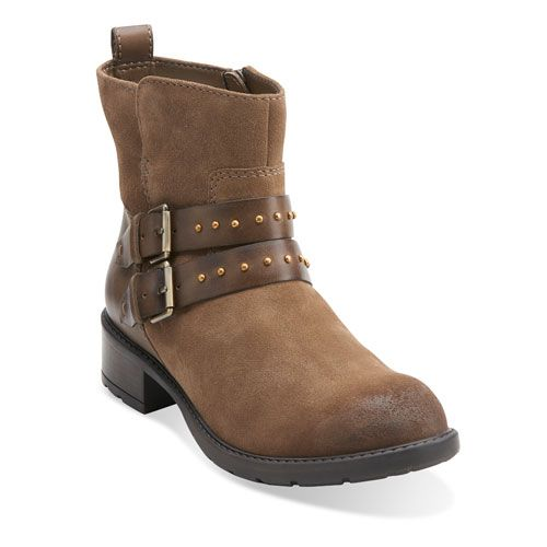 Womens Boots Clarks Swansea Grove Khaki Suede