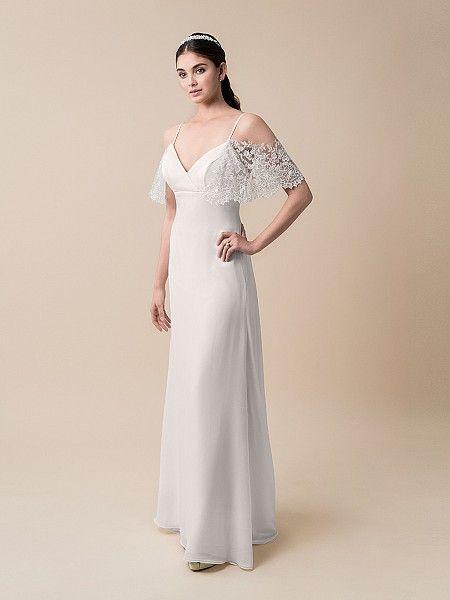 a0f116c4f2e5 Moonlight Style T783 - A-line Lace Flutter Sleeve Chiffon Wedding Dress.