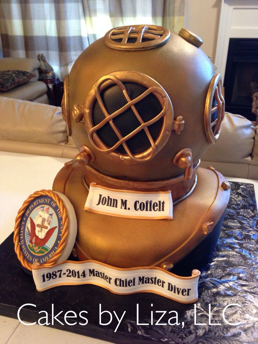US Navy divers helmet cake Military Retirement Cakes Pinterest