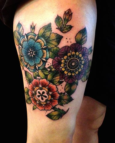 Neo Traditional Flowers By Ollie T2 Traditional Tattoo Flowers