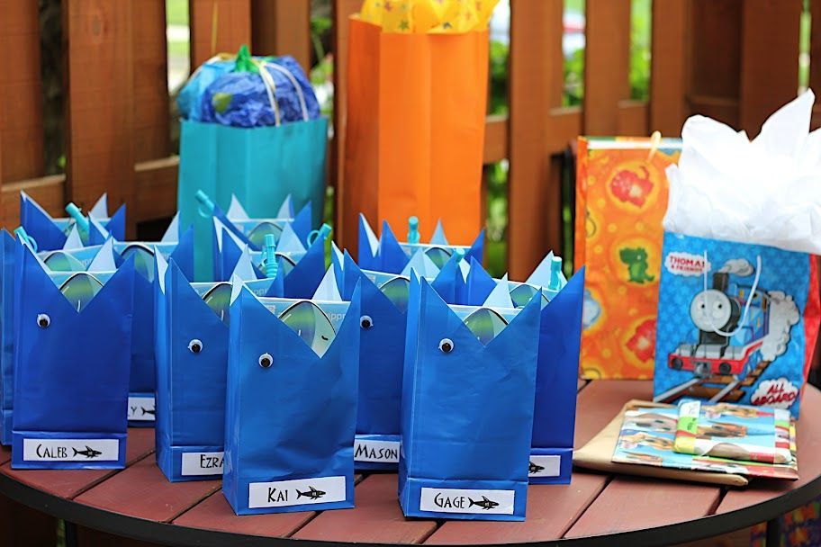 shark party favor bags for the boys! Party Party Party