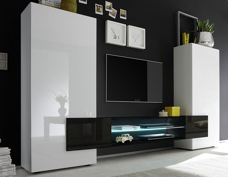 Ensemble Meuble Tv Design Laque Blanc Et Noir Trivia 3 Muebles Salon Baratos Muebles Salon Muebles Para Tv