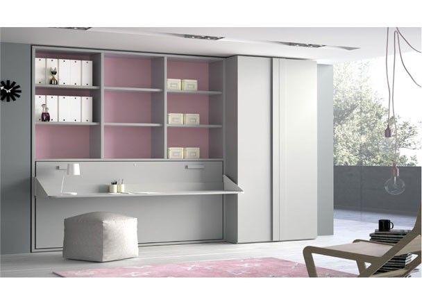 Juvenil cama abatible escritorio y armario camas for Cama escritorio juvenil