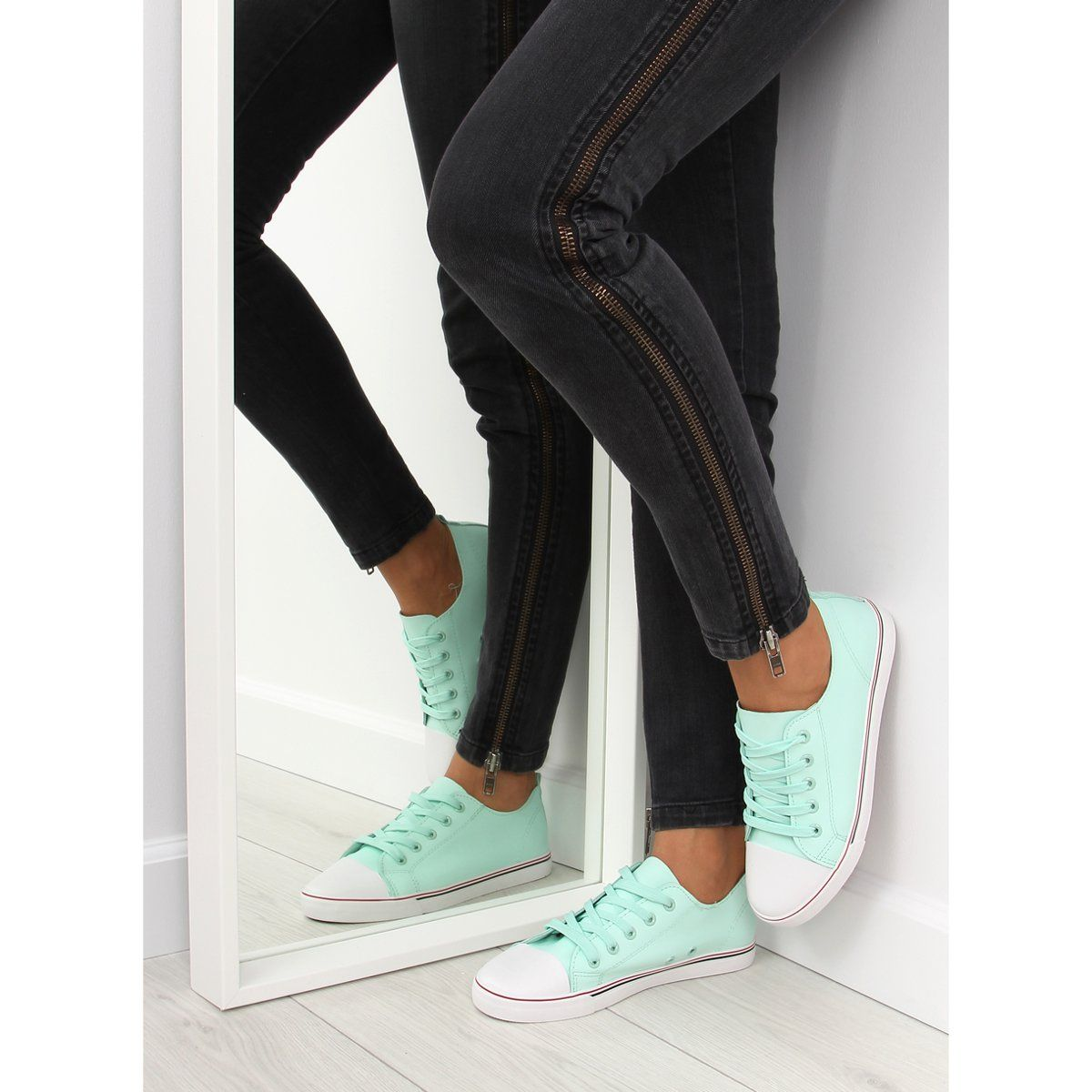 Trampki Damskie Licowe Seledynowe Xl01p L Green Zielone Sneakers Blue Womens Sneakers Timeless Shoes