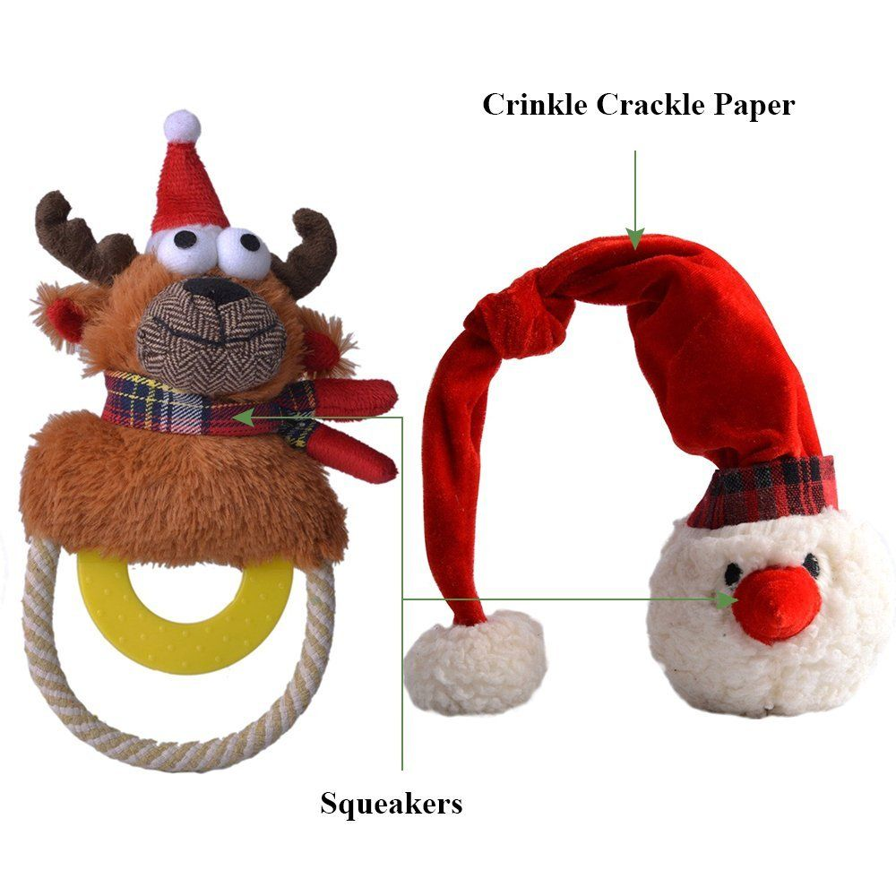 Squeaky Dog Toys Christmas 2 Pack Interactive Plush Elk And
