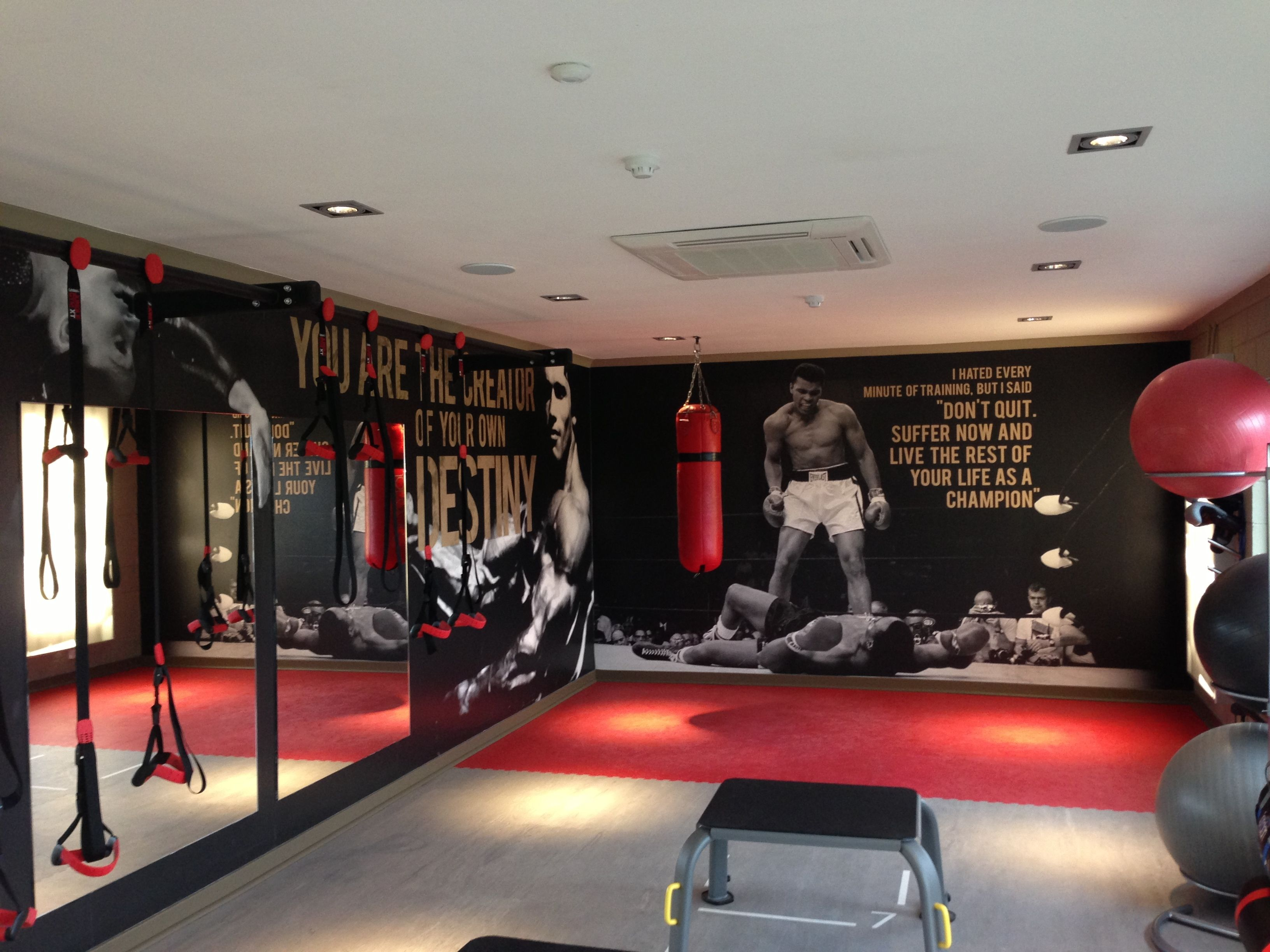 Digitally printed wallpaper in a gym wall graphics - Diseno de gimnasios ...