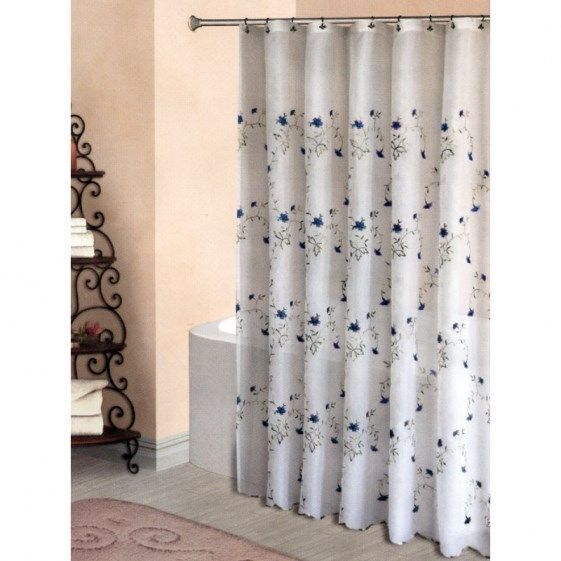 BLUE EMBROIDERED FLOWERS on SHEER WHITE FABRIC SHOWER CURTAIN ~ 70 ...
