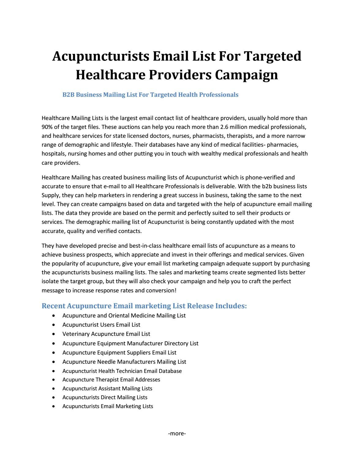 Acupuncturists Email List For Targeted Healthcare