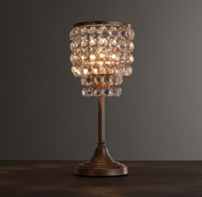 RH baby&child's Soho Crystal Accent Lamp:Soho's tiered geometry and lavish crystals evoke Art Deco glamour, radiating a glittering warmth – welcome in any era – wherever it hangs.