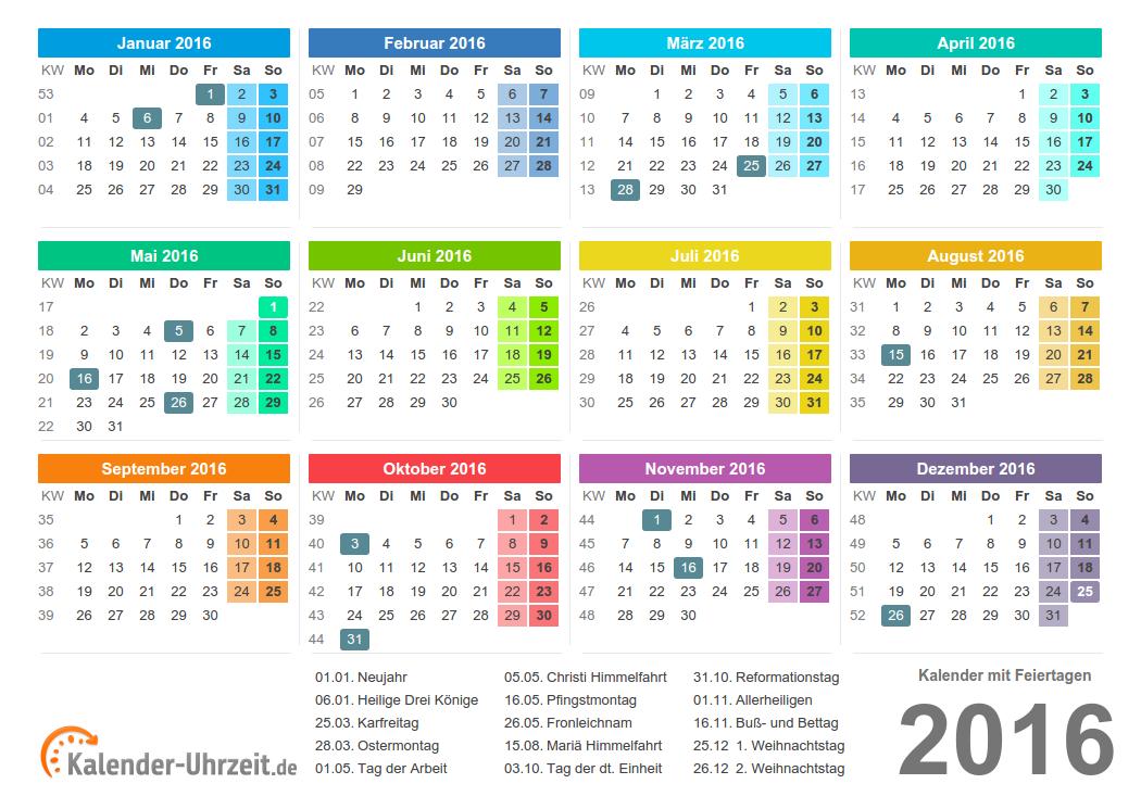 kalender 2016 zum ausdrucken a4 pdf bunt kaluhr. Black Bedroom Furniture Sets. Home Design Ideas