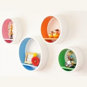 Wall Shelf 4 PCS White Round Floating Boxes With Colors Inside For Home  Decoration